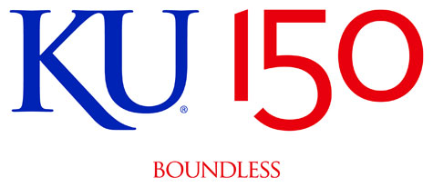 KU 150 logo crimson boundless